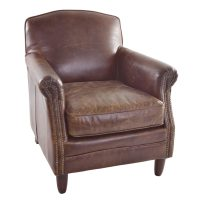 Ancient Mariner Furniture Vintage Leather Studded Front Leather Chair