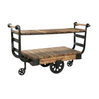 Besp-Oak Antique Iron Display Trolley with Wheels and Shelf