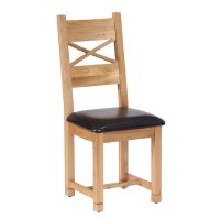 Besp-Oak Cross Back Dining Chair with Chocolate Leather Seat