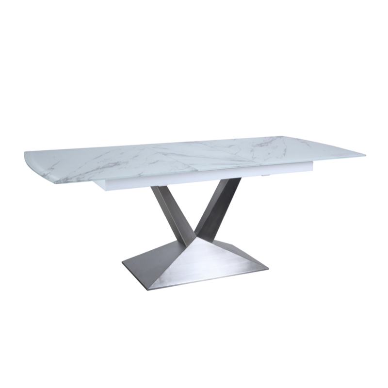Besp-Oak Marble Effect Extension Dining Table 1.6-2m