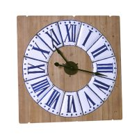Besp-Oak Square Blue and White Clock on Wooden Panelling