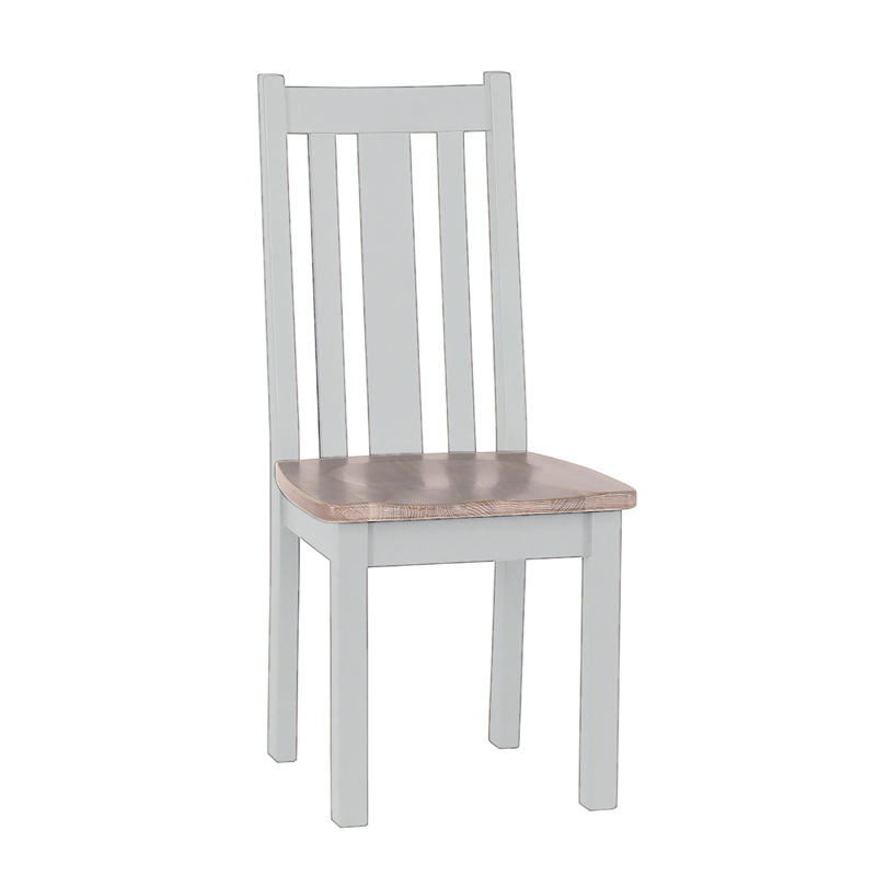 Besp-Oak Vertical Slats Dining Chair with Timber Seat