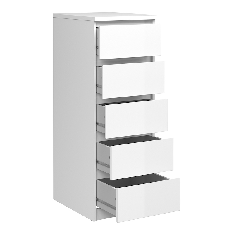 Furniture To Go Naia Narrow Chest Of 5, White Gloss Bedroom Furniture Nz