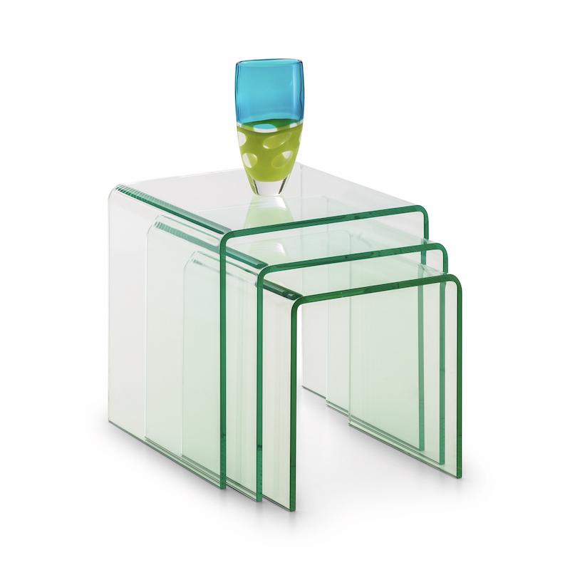 Julian Bowen Amalfi Bent Glass Nest Of Tables in Clear
