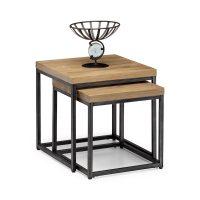 Julian Bowen Brooklyn Nesting Lamp Tables in Oak and Metal