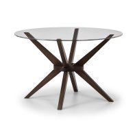 Julian Bowen Chelsea Round Glass 120Cm Dining Table in Walnut
