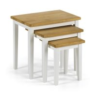 Julian Bowen Cleo Nest Of Tables in White and Light Oak