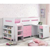 Julian Bowen Kimbo Cabin Bed in White and Soft Pink