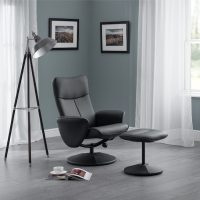 Julian Bowen Lugano Recliner & Stool With Covered Base in Black Faux Leather