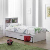 Julian Bowen Manhattan Bookcase Bed in White High Gloss