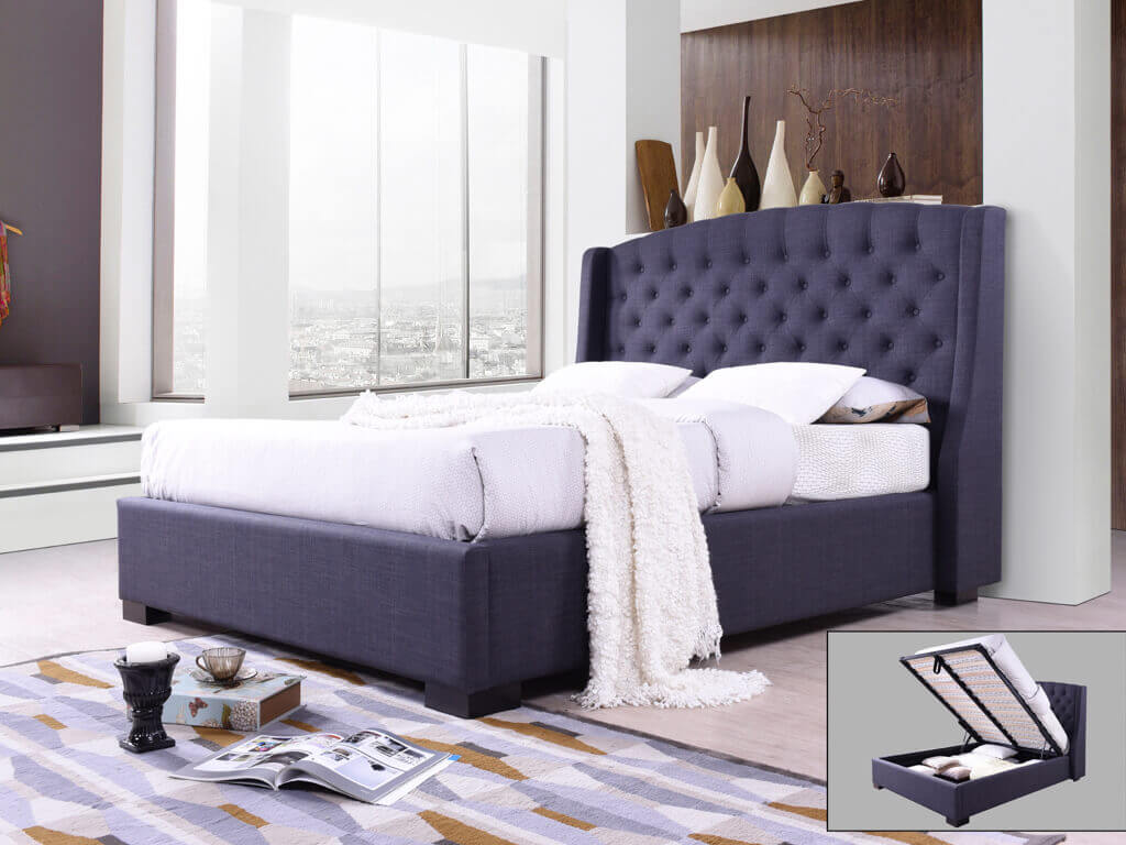 Picture of: Sareer Sovereign Charcoal Grey King Size Fabric Bed Frame Bed Frames Bedroom Fabric Beds