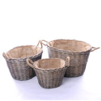 Home Essentials Wicker Set Of 3 Log Baskets With Rope Ear Handles & Hessian Lining