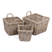 Home Essentials Wicker Set Of 3 Square Baskets With Ear Handles