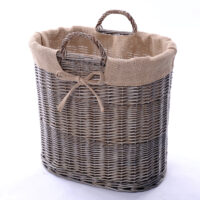 Home Essentials Wicker Small Log Basket With Ear Handles & Hessian Lining