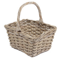 Home Essentials Wicker Square Flower Basket With High Handle
