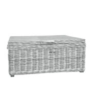 Home Essentials Wicker Trunk With Leather Handles & Metal Hinges