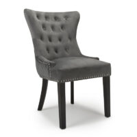 Lionhead Ring Back Brushed Velvet Grey Accent Chair
